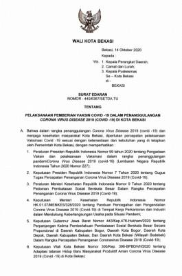 Pemkot Bekasi Akan Gelar Vaksinasi Covid-19 Awal 2021 Secara Bertahap ...